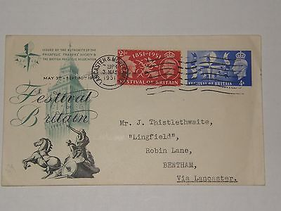 (A303) 1951 Festival Of Britain F.dc With Lancaster & Morecambe Cds