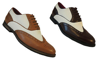 Retro 1920's 30's 40's mens Two Tone Wing tip Spectator Jazz Gatsby Brogues