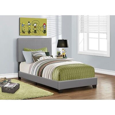 Monarch Leather Look Twin Bed - Grey