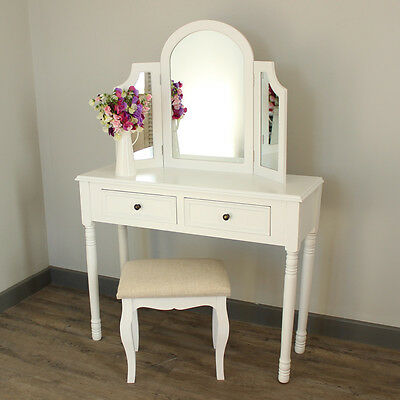 white wooden vintage style french dressing tabel mirror and stool bedroom set