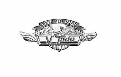 Live To Ride V-Twin Motorcycle Metal Emblem with Eagle (S) Highway Hawk 01-299