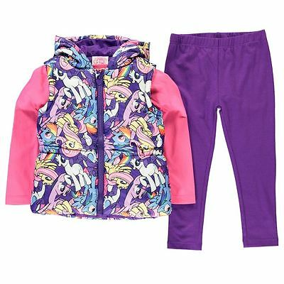 Girls My Little Pony 3 Piece Gilet Top And Legging Outfit Set Ages 2-10
