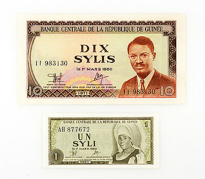 Set of 2 diff. Guinea paper money 1 Syli 1981 and 10 Sylis 1971 Au-Unc.