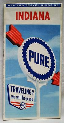Pure Oil Service Station Indiana Automobile Highway Road Map 1962 Vintage Travel