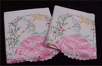 Vintage Southern Belle Transfer Pillowcases PATTERN Embroidered Garden Gal Lady