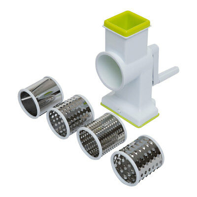 Rotary Grater With 4 Stainless Steel Cutting Drums Grate, Slice & Chop Vegetable
