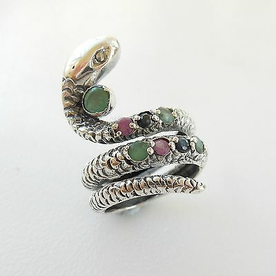 Sterling Silver Ruby Turquoise & Onyx Stone Snake Ring Hallmarked