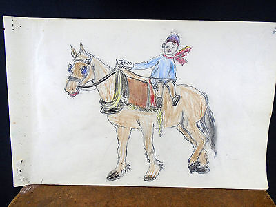Lovely Color Pencil Drawing Boy on Draft Work Horse 1940s Original