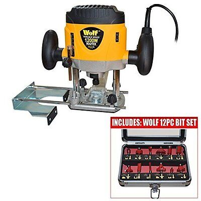 Wolf 1200 Watt Plunge Router with Variable Speed Plus Router Bit Set