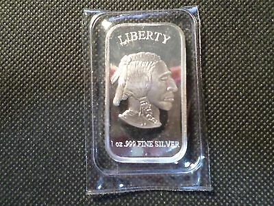 Liberty Indian/buffalo  Silver  Bar 1 Oz .999 Silver Sealed In Plastic