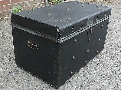 Victorian antique pine canvas brass travelling trunk blanket box storage chest