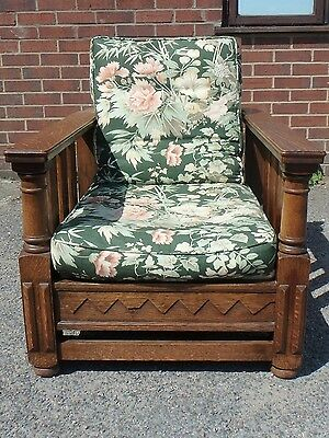Edwardian antique Arts & Crafts carved solid quarter sawn oak reclining armchair