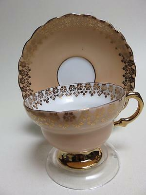 Rosina footed cup saucer peach heavy gold c 3179