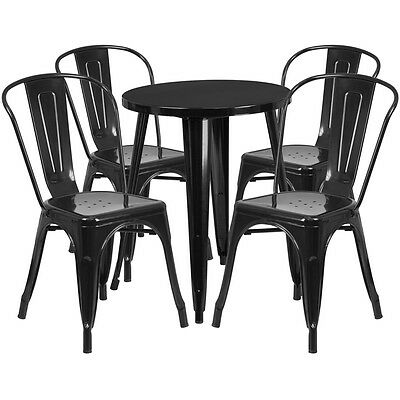 24'' Round Black Metal Indoor-Outdoor Table Set With 4 Cafe Chairs