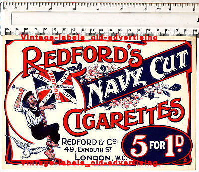 Superb  Old Vintage Redford Navy Cut Cigarettes Paper Ad From Redford London