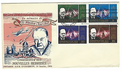 NEW HEBRIDES 1966 Winston Churchill set of 4 on first day cover FDC