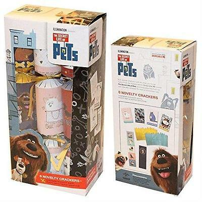"The Secret Life of Pets Cats Dogs Animals Christmas Xmas 10"" Crackers 6 Pack New"