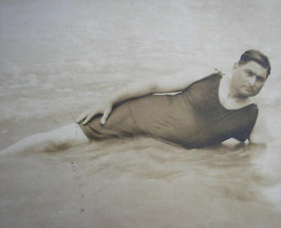 1920´s MAN w/HIS  PARTICULAR SWIMSUIT PHOTO PC
