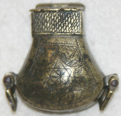 Middle East 17th-18th Century Engraved Brass Lidded Hanging Smelling Box