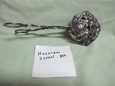 Hazorfim Isreal. 800 Silver Ornate Floral  Pastry Serving Tongs