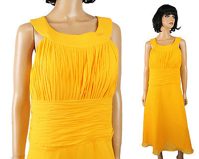 NWT Chiffon Cocktail Dress Sz L Long Sleeveless Canary Yellow Prom Gown