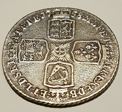 1758 George II Silver Shilling  , early milled Fine coin