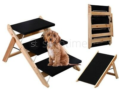 New Portable Wooden 2-In-1 Pet Folding Dog Cat 3 Ramp Steps Stairs Ladder Travel