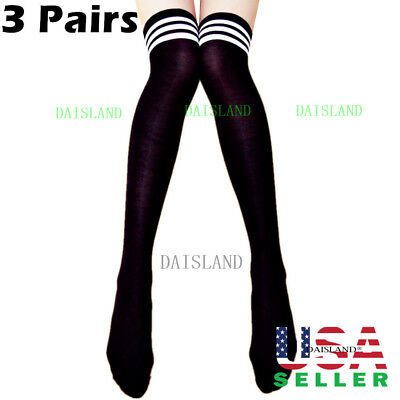 Women's Sheer Striped Thigh High Stockings Plus Size Over New Knee Cotton Socks