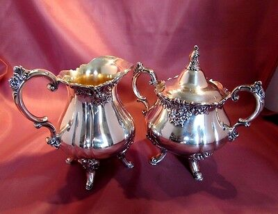 Antique Silverplate CREAMER & SUGAR - Wallace - BAROQUE - #283-284 - EXC!