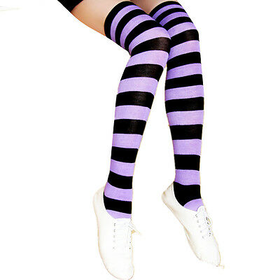 Long Pantyhose Plus Size Cotton Strip New Over Knee Women Stockings Socks Tights