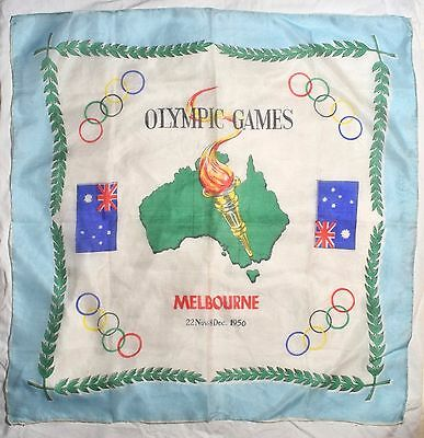 Small Vintage Melbourne Olympic Games 1956 Souvenir Printed Silk Square Scarf