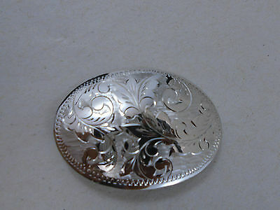 Large Vintage Oval Etched Sterling Silver Brooch Pin by WFS Excellent Piece!