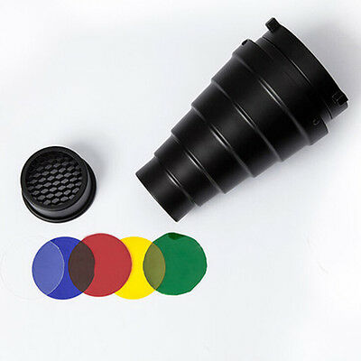 Aluminum For Bowens Conical Metal Snoot With Honeycomb Grid +5 Colors Filters JN