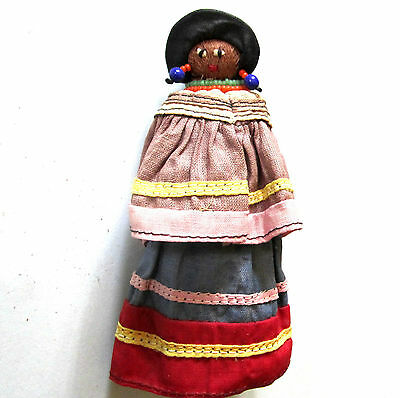"Beautiful Vintage Native American Seminole Indian Doll Handmade Palmetto 5"" 30's"