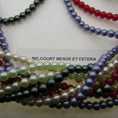 1000 Glass Beads 4mm Round Assorted Colors Spacer Pearl Shaped Beads