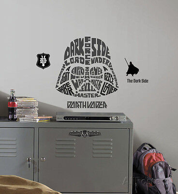 Star Wars - Typographic Darth Vadar Peel and Stick Giant Wall Decal Sticker