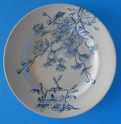 R. Slimmons Vintage Aesthetic Movement Style Blue Transferware Plate England