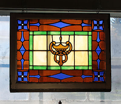 Antique Stained Glass Window – Unique Center Shield Type Design