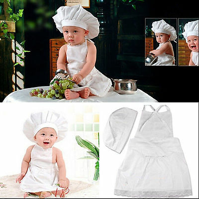 2PCS Baby Newborn Infant Chef Cook Costume Party Sets Outfits Costume Hat+Apron
