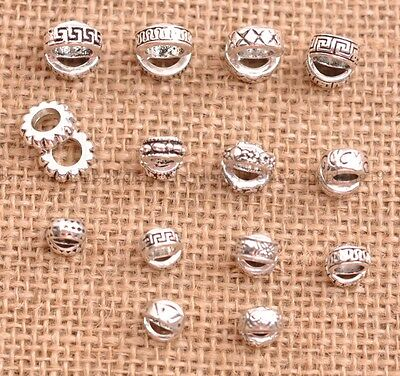 20/50Pcs Tibetan Silver Big Hole European Charm Spacer Beads for Bracelet