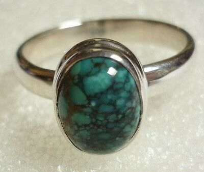 925 Sterling Silver Genuine Cabochon Blue Turquoise Ring Size US 6 ~ (L 1/2)