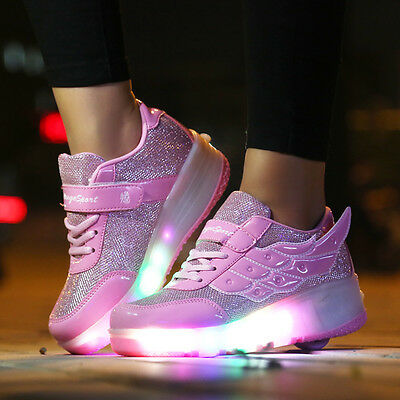Unisex Boys Girls LED Light Up Kids Retractable Wheel Roller Skate Safe Shoes AU