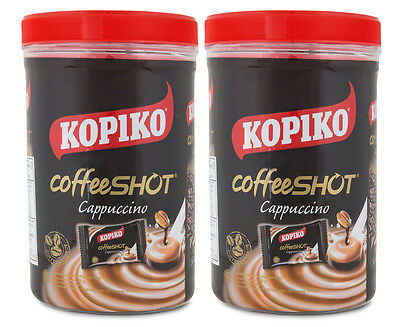 2 x Kopiko Cappuccino Coffee Shot Candy Jar 240g