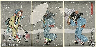 TOYOKUNI JAPANESE Triptych Hand Printed Woodblock Print -Heavy Snow at Years End
