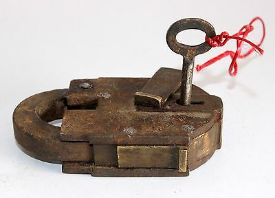 Antique India Steel Brass System Tricky 6 Lever Working Lock With Keys