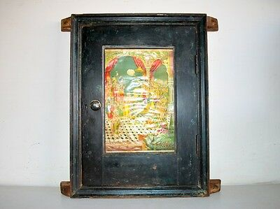 Antique Old Wooden Hand Crafted Painted Door Frame With Rama Litogrpah Print