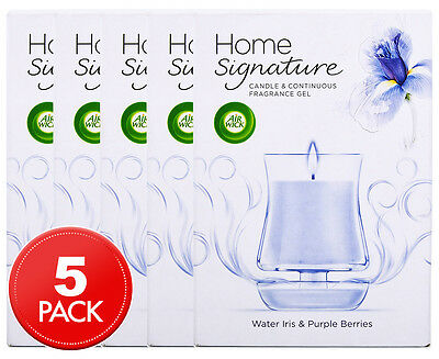 5 x Air Wick Home Signature Candle & Fragrance Gel Water Iris & Purple Berries 1