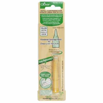 Clover Chaco Liner Pen Style Refill - Yellow Chalk Fabric Marker Refill