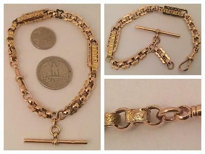 A Stunning Immaculate Solid 9Ct Rose Gold Etruscan Link Bracelet With 't' Bar