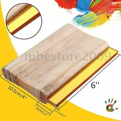 6'' Screen Printing Squeegee Wood Handle Blade Ink Scraper Board Rubber Tools